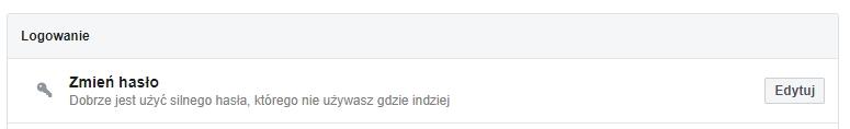 Zmien haslo facebook