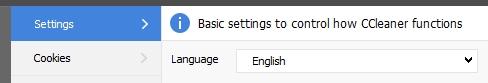 Settings ccleaner
