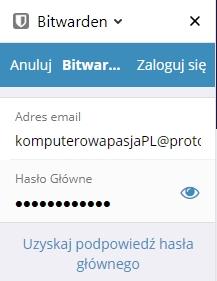 Logowanie do Bitwarden w Firefox