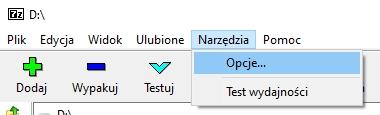 narzedzia opcje 7zip